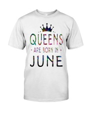 Queens Are Born in June Colorful Classic T-Shirt thumbnail