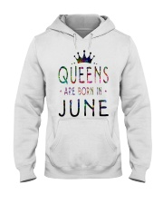 Queens Are Born in June Colorful Hooded Sweatshirt thumbnail
