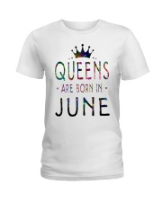 Queens Are Born in June Colorful Ladies T-Shirt thumbnail