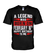 16th February legend V-Neck T-Shirt thumbnail