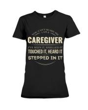 Can't Scare Caregiver Front Dark Premium Fit Ladies Tee tile