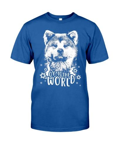 Oy To The World T Shirt Akita Hanukkah Shirt