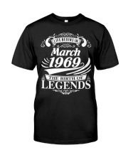 LIFE BEGINS IN MARCH 1969 Premium Fit Mens Tee front