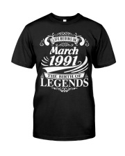 LIFE BEGINS IN MARCH 1991 Premium Fit Mens Tee front
