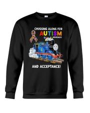 Chugging Along For Autism Awareness And Acceptance Crewneck Sweatshirt thumbnail