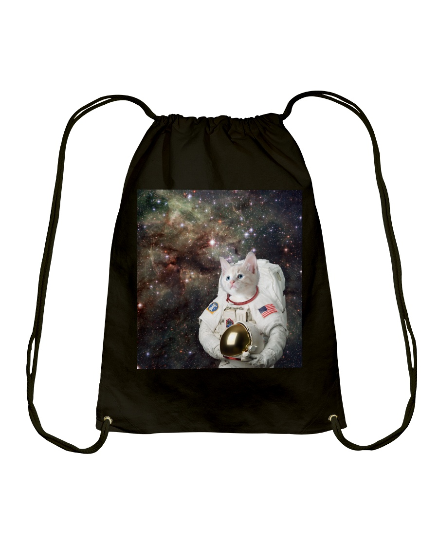 Catstronaut in Space Drawstring Bag