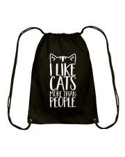 I like cats more than people shirt Drawstring Bag thumbnail