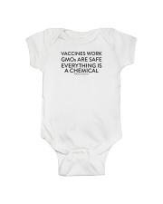 Vaccines work - GMOs are safe  Onesie front