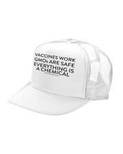 Vaccines work - GMOs are safe  Trucker Hat left-angle