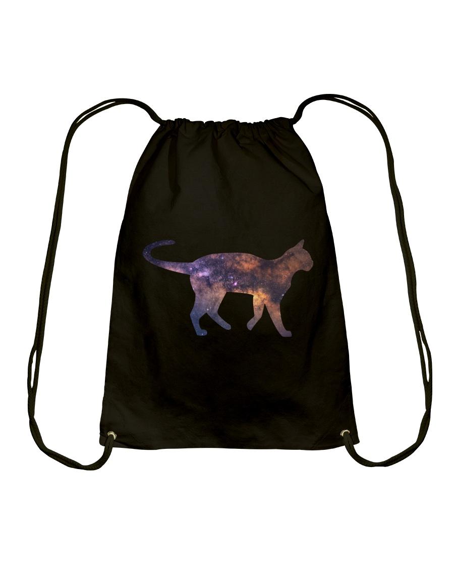 Galaxy Cat Silhouette Drawstring Bag