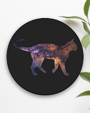 Galaxy Cat Silhouette Circle Coaster aos-coaster-round-front-lifestyle-6