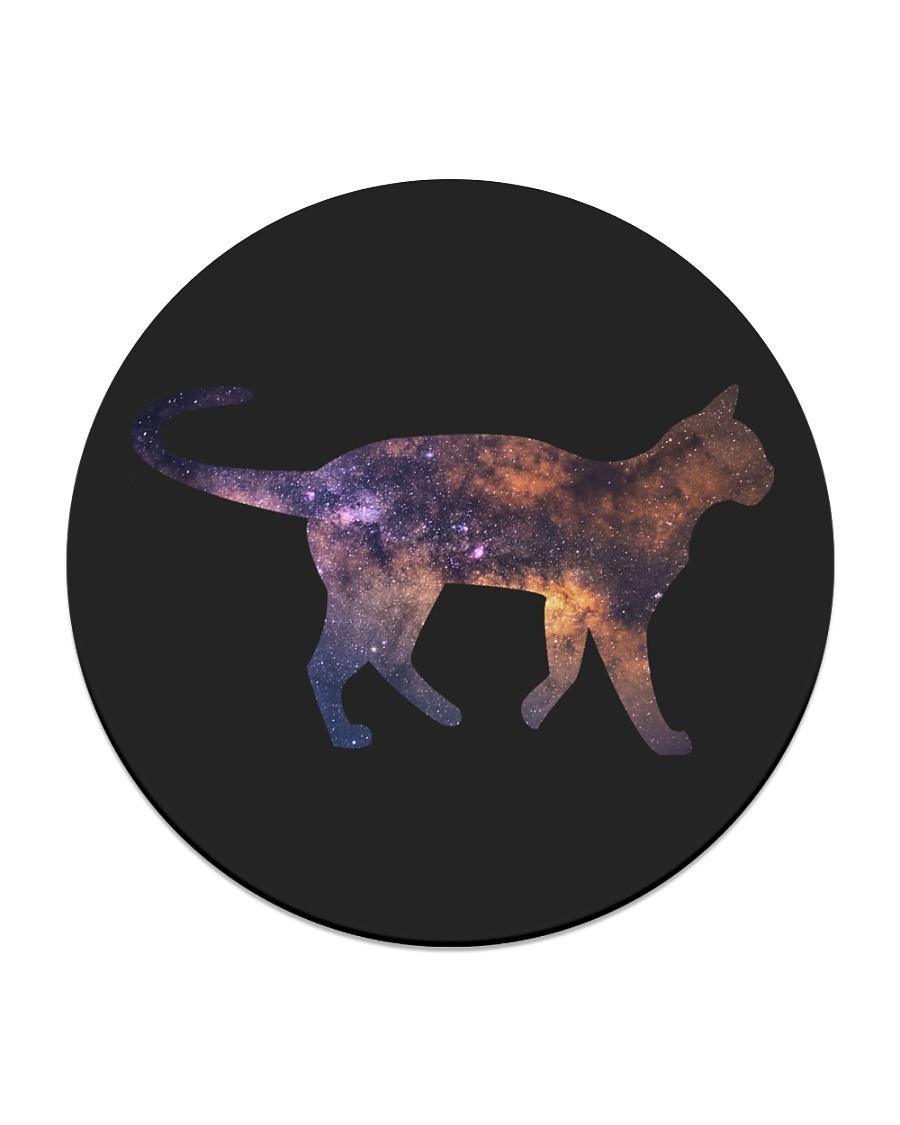 Galaxy Cat Silhouette Circle Coaster