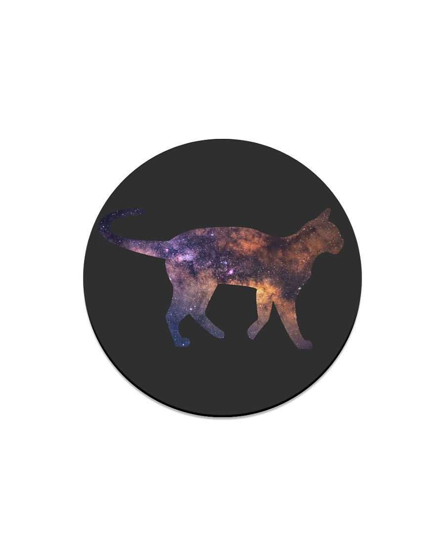 Galaxy Cat Silhouette Circle Magnet