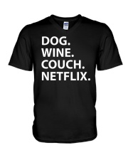 Dog Wine Couch Netflix Shirts V-Neck T-Shirt thumbnail