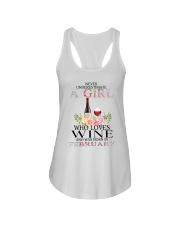 febuary who loves wine Ladies Flowy Tank thumbnail