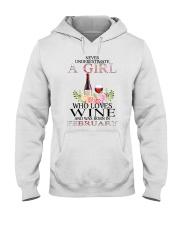febuary who loves wine Hooded Sweatshirt thumbnail
