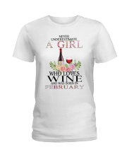 febuary who loves wine Ladies T-Shirt front