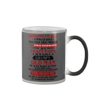 crazy papa born in may Color Changing Mug tile