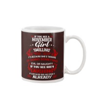november girl smilling Mug thumbnail