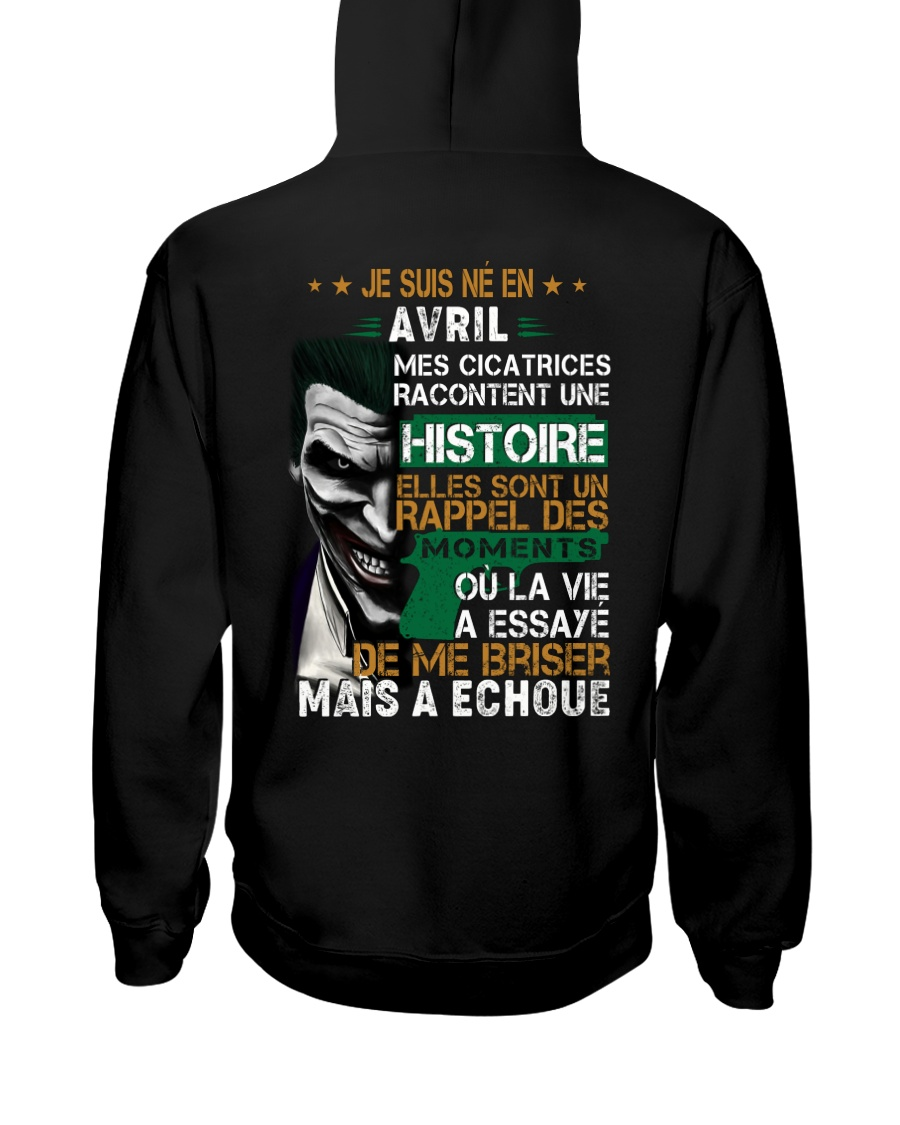 mes cicatrices racontent une histoire avril Hooded Sweatshirt