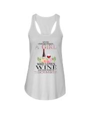 december who loves wine Ladies Flowy Tank thumbnail