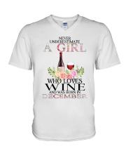 december who loves wine V-Neck T-Shirt thumbnail