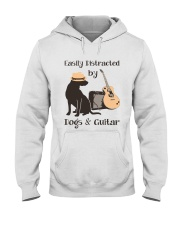 easilly distracted dogs and guitar Hooded Sweatshirt front