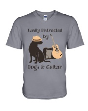 easilly distracted dogs and guitar V-Neck T-Shirt thumbnail