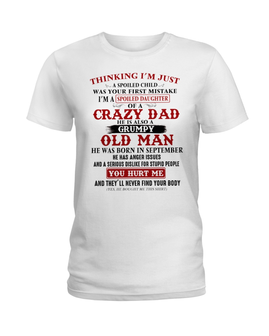 crazy dad born in september Ladies T-Shirt