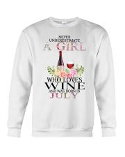 july who loves wine Crewneck Sweatshirt thumbnail