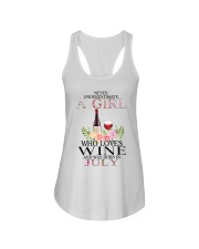 july who loves wine Ladies Flowy Tank thumbnail