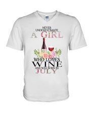 july who loves wine V-Neck T-Shirt thumbnail
