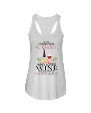 january who loves wine Ladies Flowy Tank thumbnail