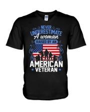 A Woman Raised By An American Veteran V-Neck T-Shirt thumbnail