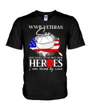 I Was Raised- WWII Sailor Veteran Son V-Neck T-Shirt thumbnail