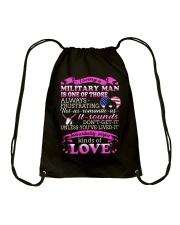 Loving A Military Man Drawstring Bag thumbnail