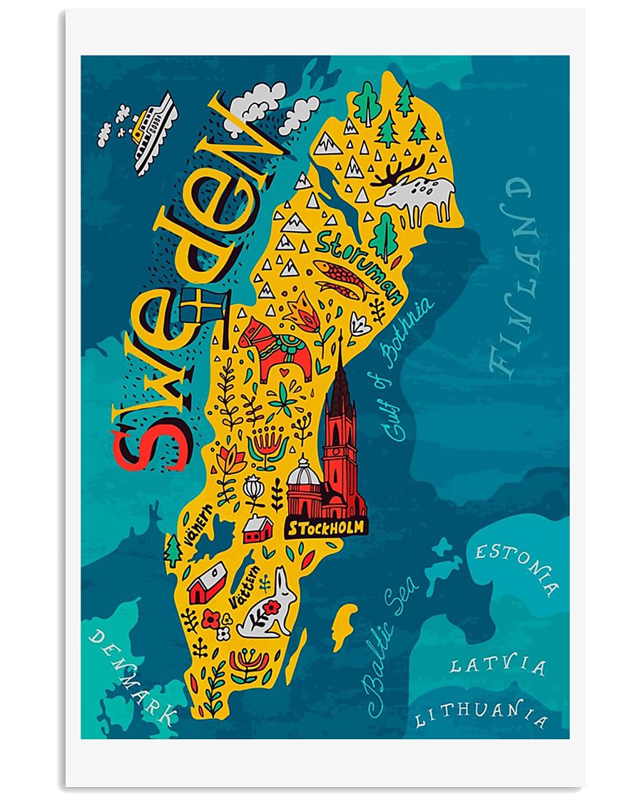 Sweden Map 11x17 Poster