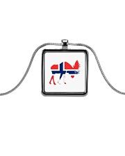 Norway Symbol Metallic Rectangle Necklace thumbnail
