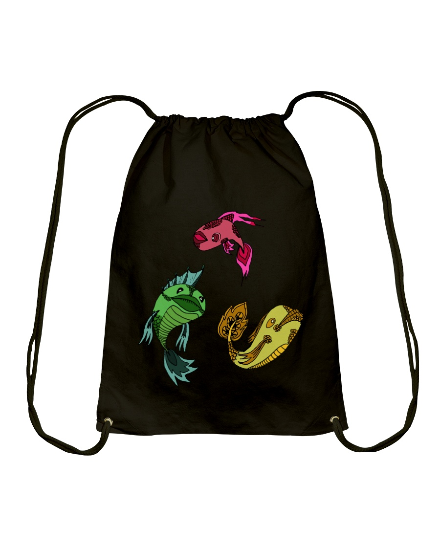 Colors Trio Fish Drawstring Bag