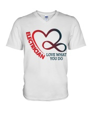 Electrician Love What You Do V-Neck T-Shirt thumbnail