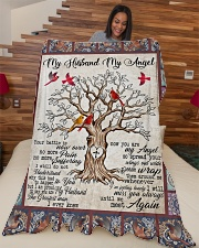 """My Husband My Angel  Large Fleece Blanket - 60"""" x 80"""" aos-coral-fleece-blanket-60x80-lifestyle-front-04"""