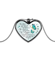 My Mind Still Talks To You Metallic Heart Necklace front