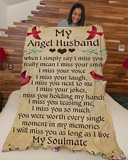 "MY Angel Husband L Large Fleece Blanket - 60"" x 80"" aos-coral-fleece-blanket-60x80-lifestyle-front-04"