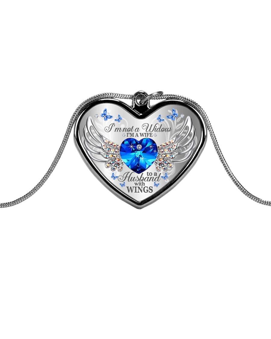 I'm Not A Widow I'm A Wife To A Husband With Wings Metallic Heart Necklace