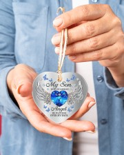 My Son Is My Guardian Angel Heart ornament - single (porcelain) aos-heart-ornament-single-porcelain-lifestyles-01