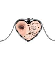 I Hide My Tears Metallic Heart Necklace front