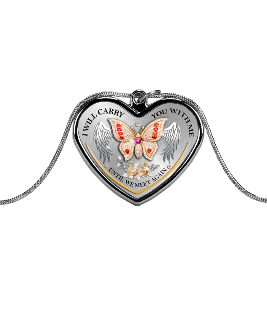 I Will Carry You Metallic Heart Necklace
