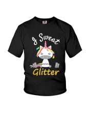 I Sweat Glitter - Unicorn Workout Exercise Youth T-Shirt thumbnail