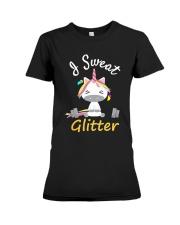 I Sweat Glitter - Unicorn Workout Exercise Premium Fit Ladies Tee thumbnail