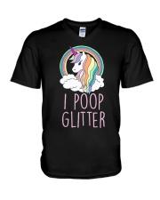 I Poop Glitter Cute Funny Unicorn V-Neck T-Shirt thumbnail